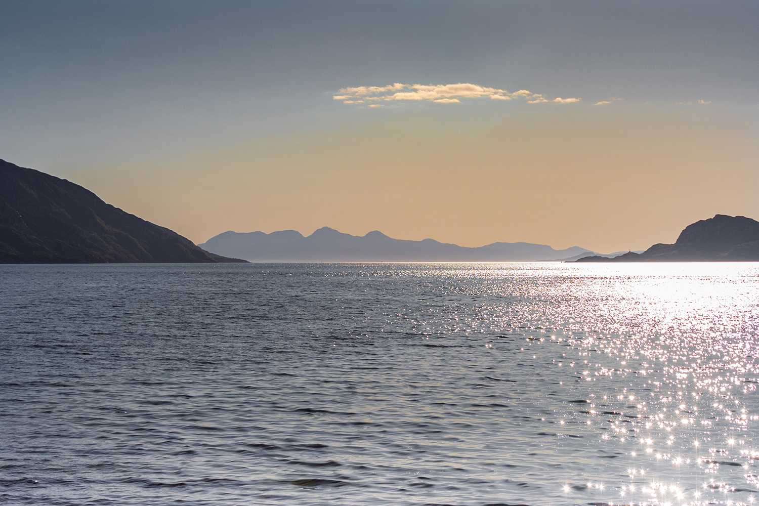 Sunset over the Isle of Rum from Knoydart MV Monadhliath - Hebridean Adventures Photography Expedition